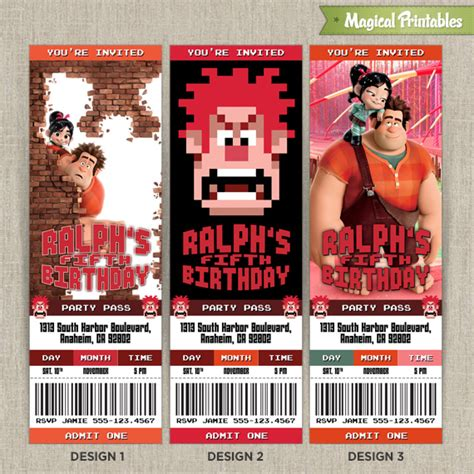 personalized disney wreck  ralph birthday ticket