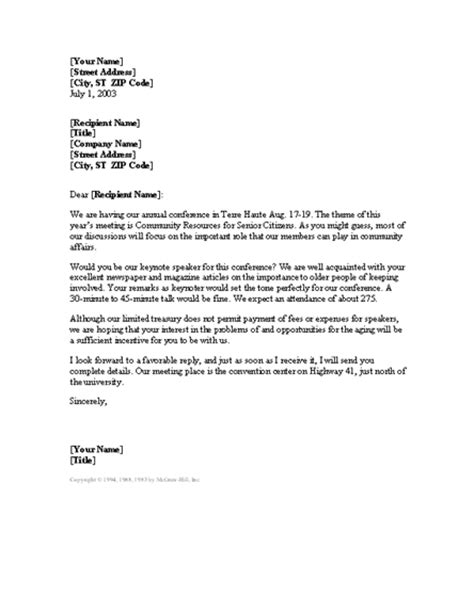 request  unpaid keynote speaker letter templates