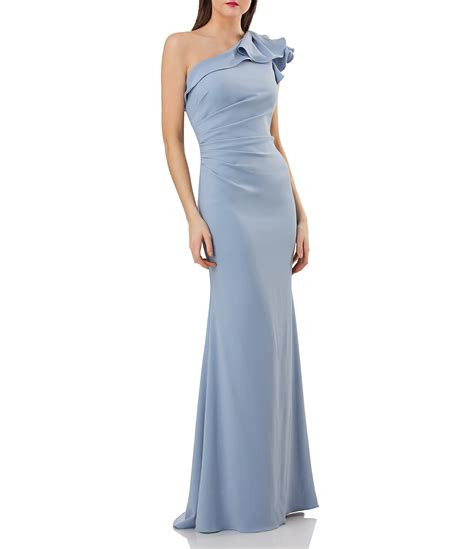 carmen marc valvo infusion  shoulder ruffled crepe gown