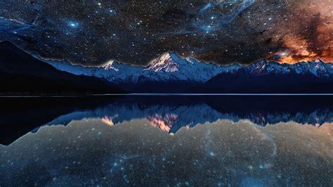 nebula lake space stars water reflection evening
