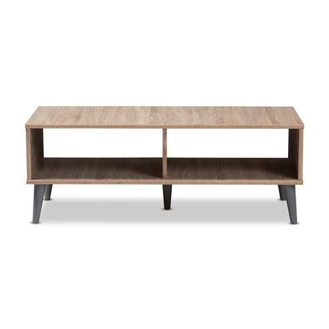 Amoeba wild walnut coffee table. Baxton Studio Pierre Mid-Century Modern Oak and Light Grey Finished Wood Coffee Table