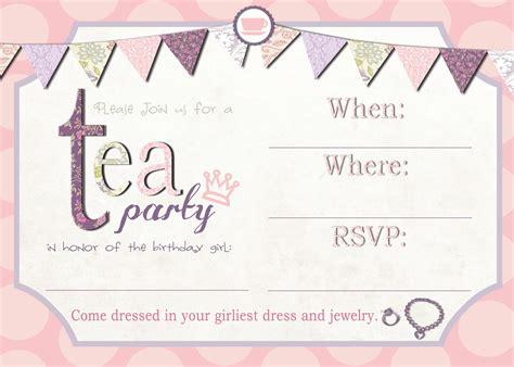 printable tea party invitation template tea party