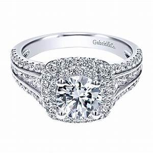Gabriel co engagement rings double halo 1ctw diamonds for Gabriel and company wedding rings