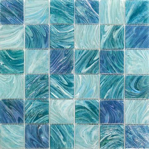 shop  aquatic sky blue  squares glass tile