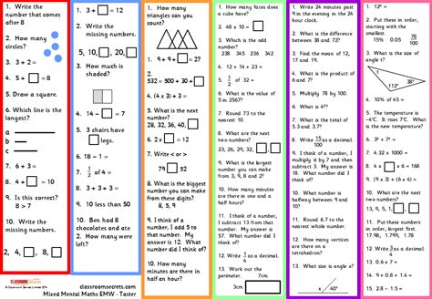 mixed mental maths worksheets for early morning work aimed at primary key stages 1 and 2