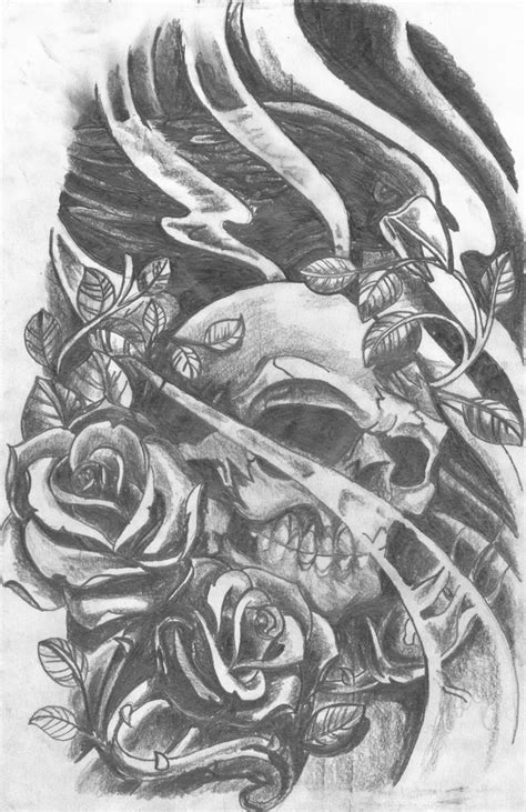skull crow  roses  chad cliff  deviantart