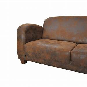 canape club texas 3 places imitation cuir vieilli le With canapé tissu imitation cuir vieilli