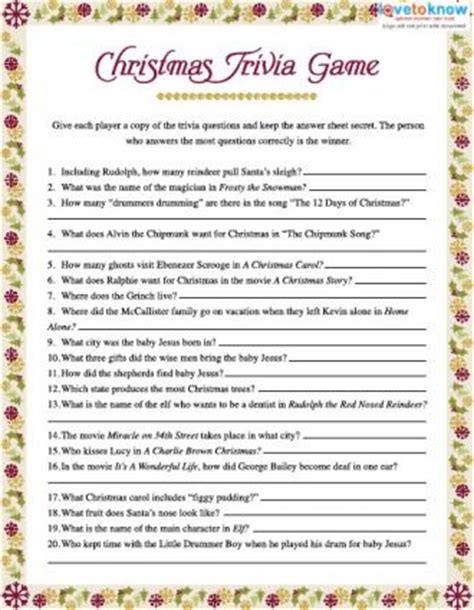 Christmas Trivia Games Lovetoknow