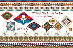 Tribal Clip Art & Border- EPS + PNG ~ Illustrations on ...