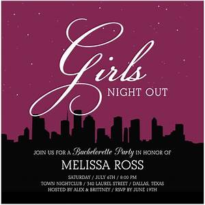 Lovely Girls Night Out Bachelor Party Invitation Card ...