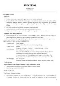 chemical lab technician cv resume for a chemistry lab technician