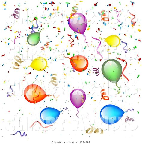 Background of Colorful Party Balloons, Streamers and