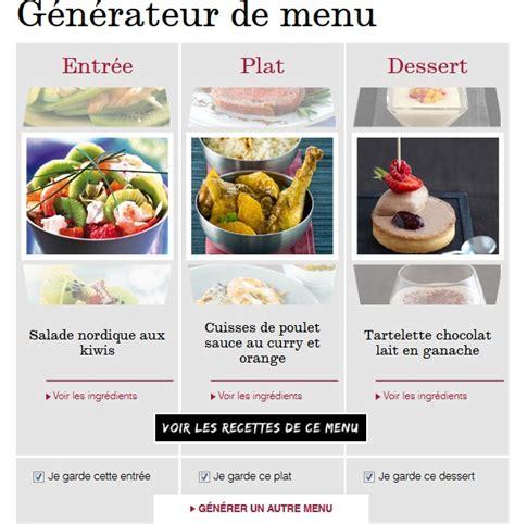 recettes de plats g 233 n 233 rateur de menus repas pour une