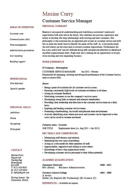 Resume Format Customer Service Manager by Customer Service Manager Resume Sle Template Client