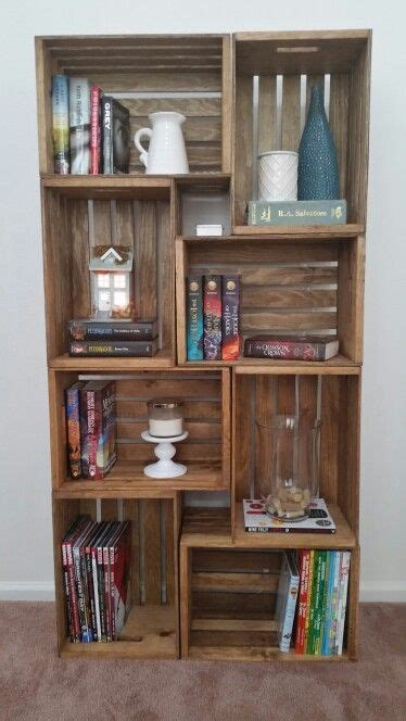 crate bookshelf stained  early american  minwax