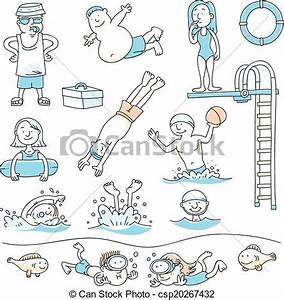 Vectors of Swimming Pool Fun - Cartoon set of people ...
