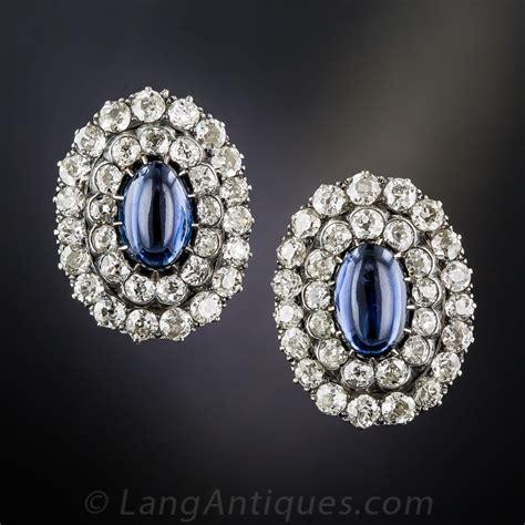 antique cabochon sapphire  diamond earrings