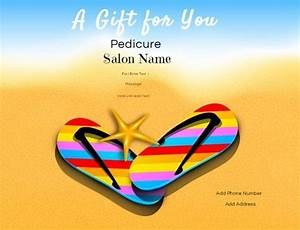 Nail salon gift certificates for Pedicure gift certificate template