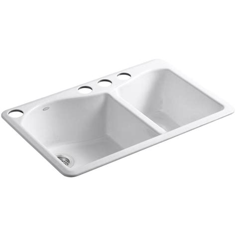 undermount kitchen sink with faucet holes kohler lawnfield undermount cast iron 33 in 4 9539