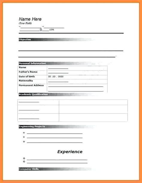 20815 resume blank template 5 blank resume form for application emmalbell