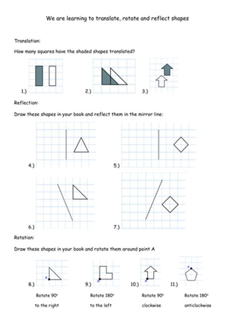 translation rotation and reflection worksheets by