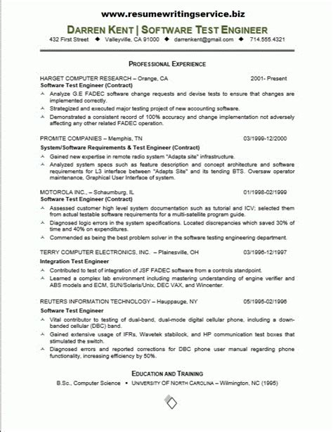 software tester resume sle resume sle