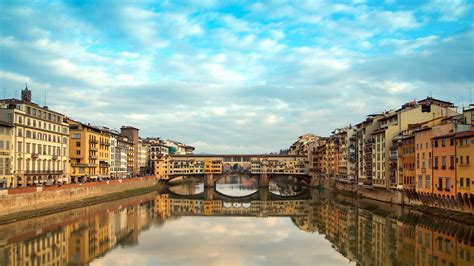 full hd wallpaper florence channel bridge reflection italy