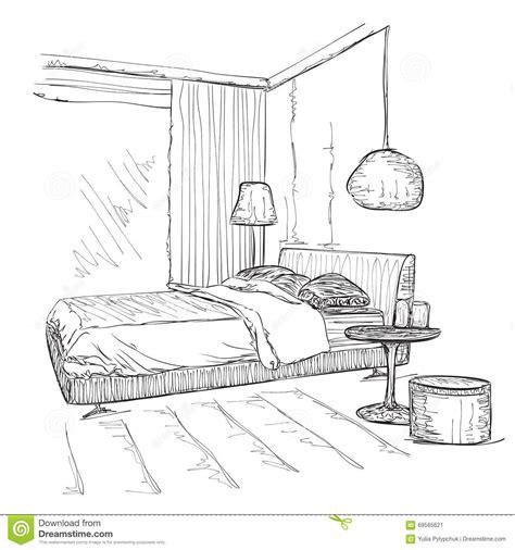 croquis chambre a coucher croquis intérieur moderne de dessin de vecteur de chambre