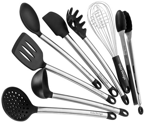 utensils cooking kitchen utensil silicone tools spoon egg spatula serving nonstick piece ladle pot stainless steel amazon rated cookware gift