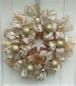 christmas deco mesh ribbon wreath winter gold decomesh