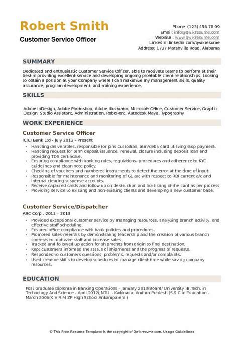 Customer Service Officer Resume by Client Services Officer Resume