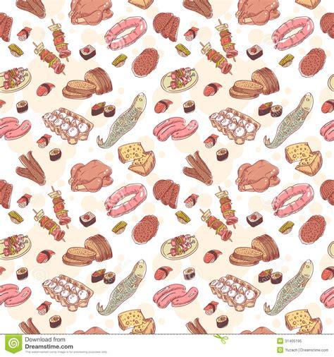 cuisines vintage vintage food set seamless pattern stock vector image