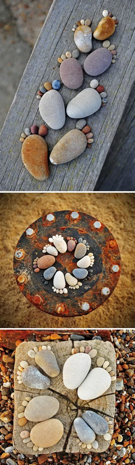 diy pebbles rocks river decor using stone footprints