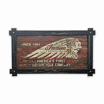 Indian Motorcycle Sign Headdress Frame Brick Textured