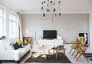white brick wall interior design ideas With idee deco cuisine avec ameublement style scandinave