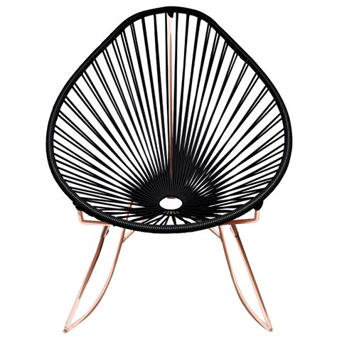 modern acapulco rocker with cord seat and copper frame