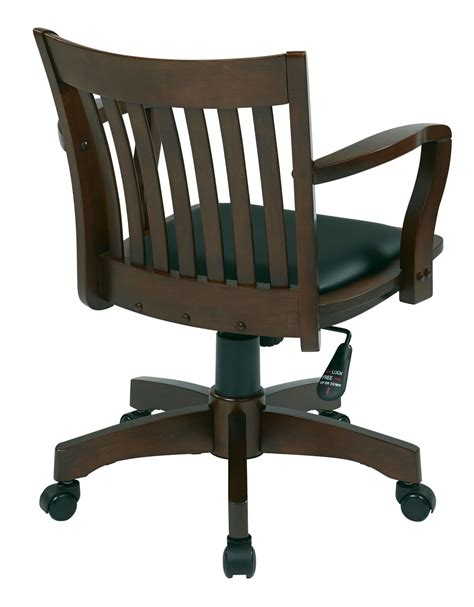 wood bankers chair uk espresso finish mission swivel bankers office wood chair w