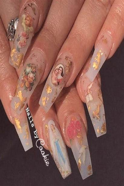 Aesthetic Nails Acrylic Trendy Renaissance Cherub Thing