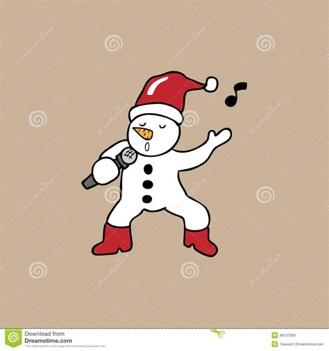 singing snowman christmas stock vector illustration