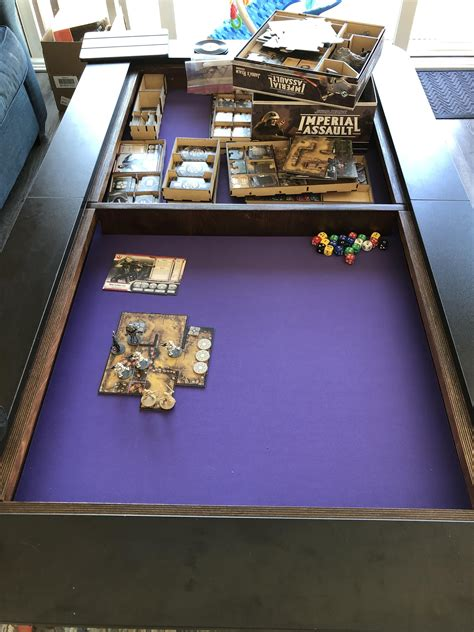 Introducing the origins game table, the table that's ready to play off the box and has an optional dining top! Brand new board game coffee table arrived. Breaking it in this weekend. : ImperialAssaultTMG