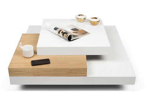 armoire basse de bureau table basse carrée design en bois blanc et chêne l90 cm slato
