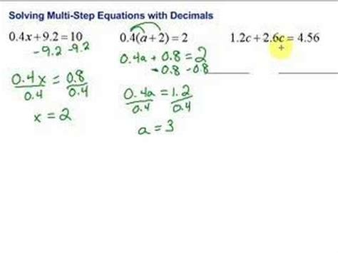 Lesson 73 Solving Multistep Equations With Decimals Youtube
