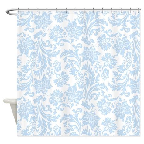 blue and white shower curtain sky blue and white damask shower curtain by artonwear