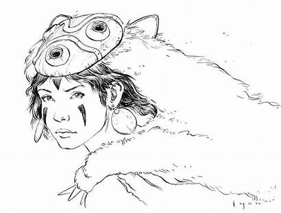 Watercolor Press Paper Mononoke Princess Drawing