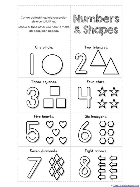 numbers    shapes mini accordion coloring book