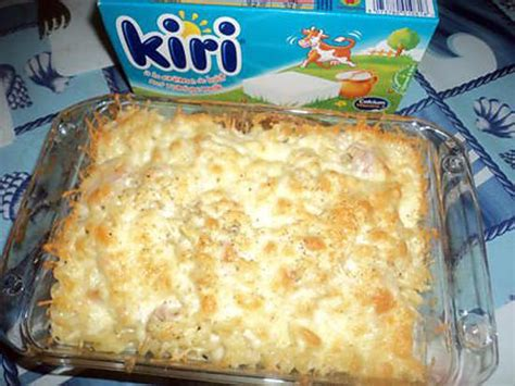recette de gratin de pate jambon et fromage kiri