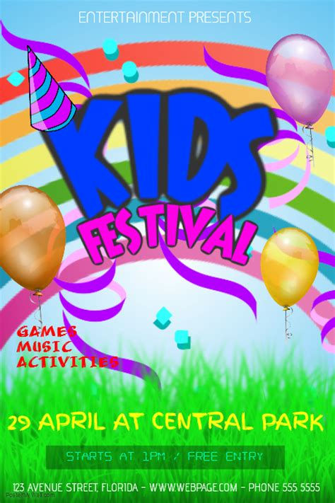 ae templates children kids birthday party festival event flyer template