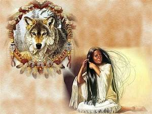 Native Woman and Wolf Spirit Wallpaper | Wolf packs ...