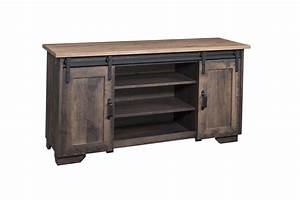 wayside custom furniture solid wood tv stands 62quot barn With barn door hardware for tv stand