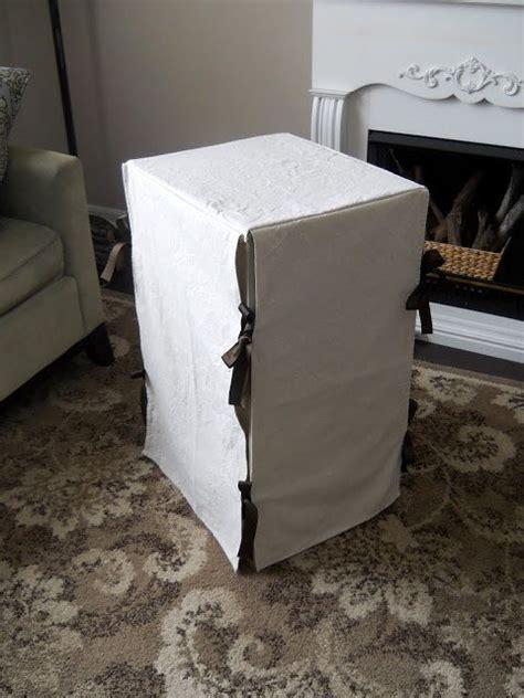 homey home design  slip covered filing cabinet